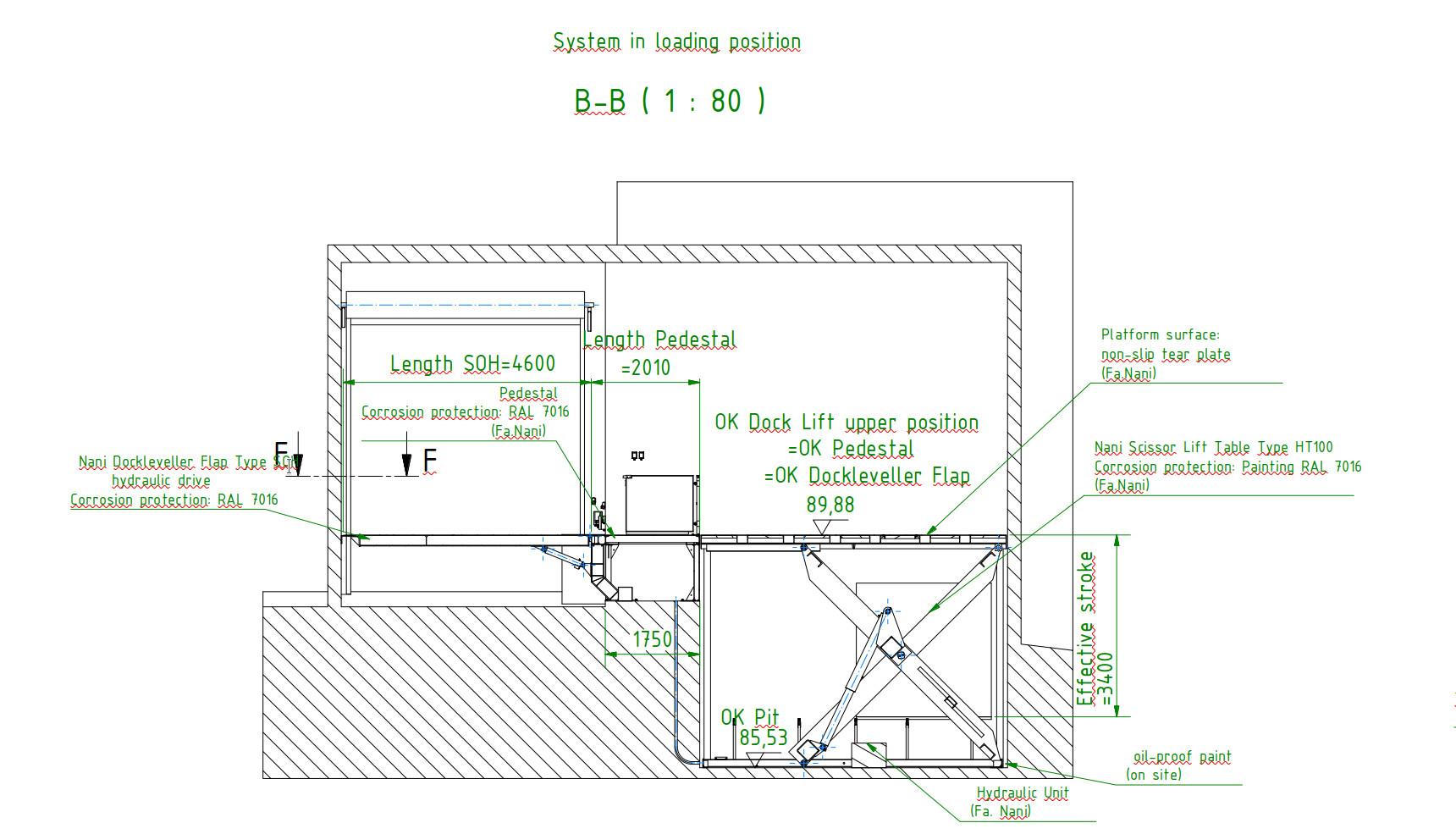Loading platform design drawing