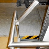 Railings with door stopper fixings