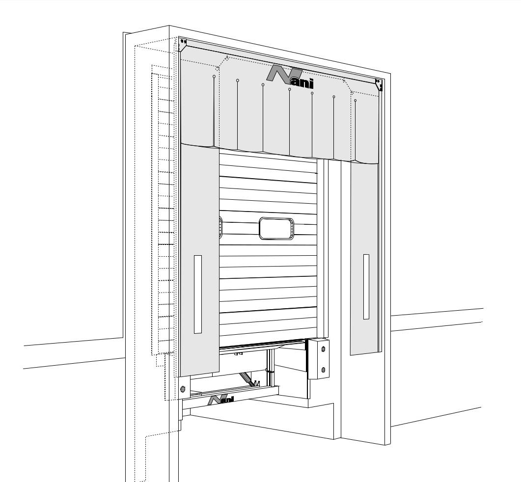 Konstruktionszeichnung einer Torabdichtung mit Oberplane im Vorbau (LP-TAD-V)