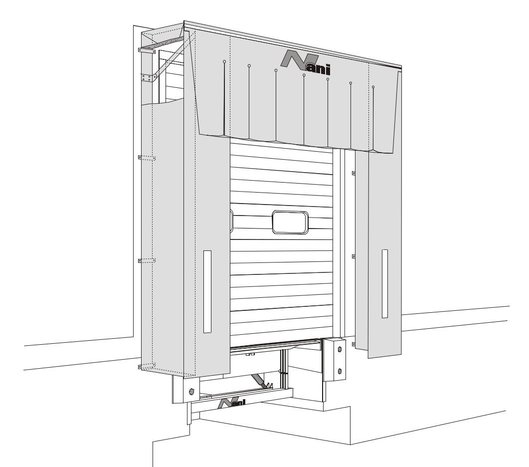 Konstruktionszeichnung einer Lamellen-Planenschürzen-Torabdichtung-Schaumstoffkissen (LP-TAD-S)