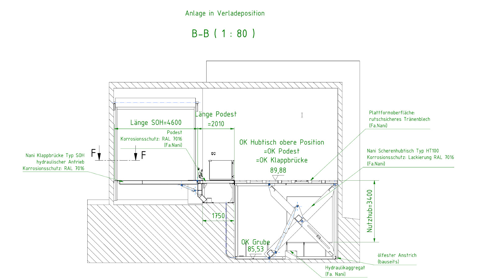 Verladeplattform Ausführungszeichnung