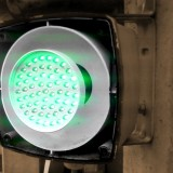 Ampeln – geöffnete LED-Ampel mit Leuchtdioden