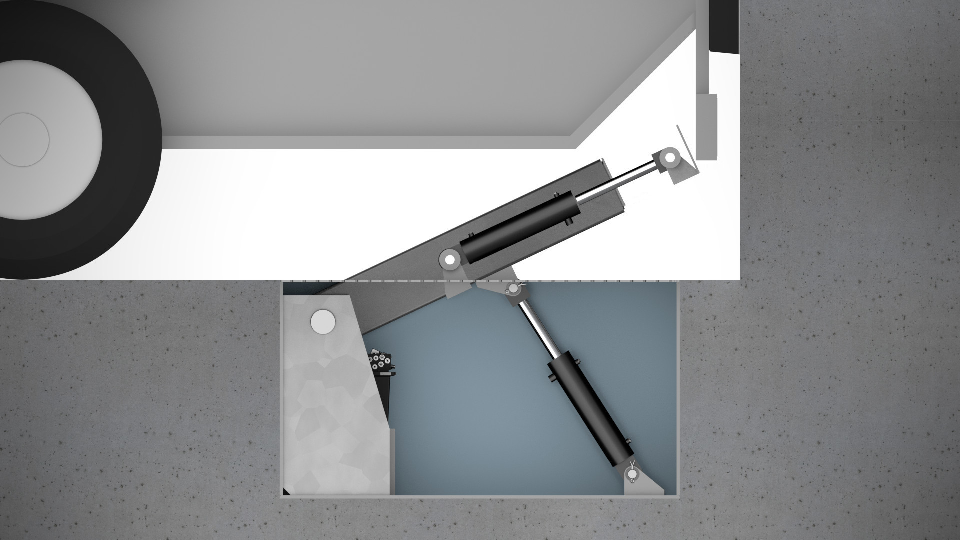 3. Veriegelungsarm fährt zum Heckunterfahrschutz