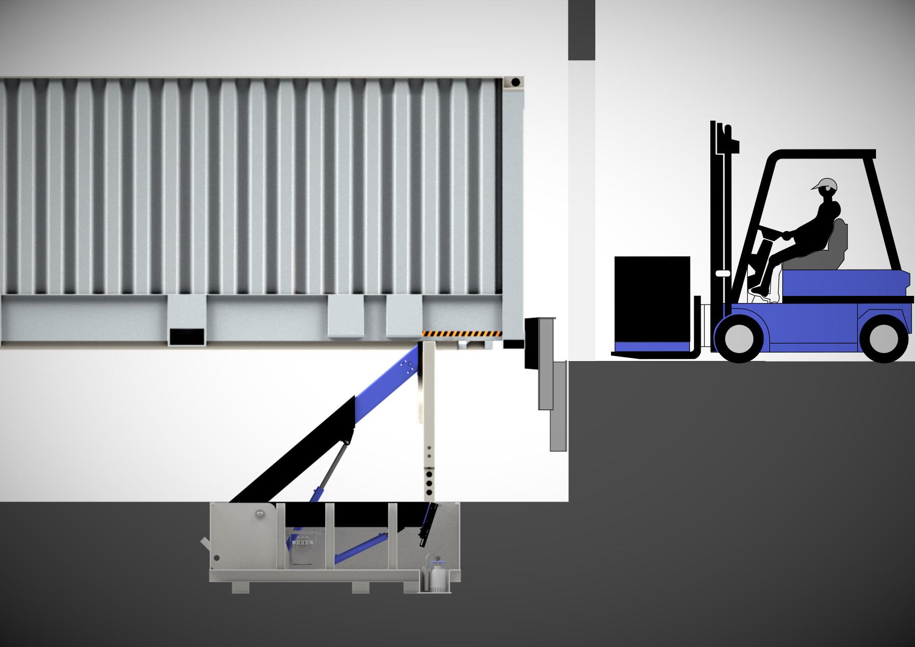 BLOCKDOCK-V2 bei Wechselbrücken-Verladung. zweiter Blockarm hebt zum Stahlbalken an